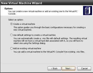 создание новой виртуальной машины
