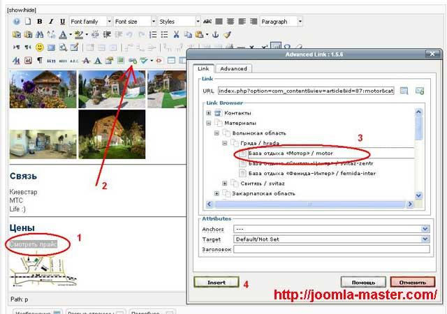 Рис. 1. Добавление ссылки на материал с помощью плагина Advanced Link.