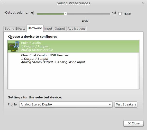 Mint не работаю USB-наушники с микрофоном