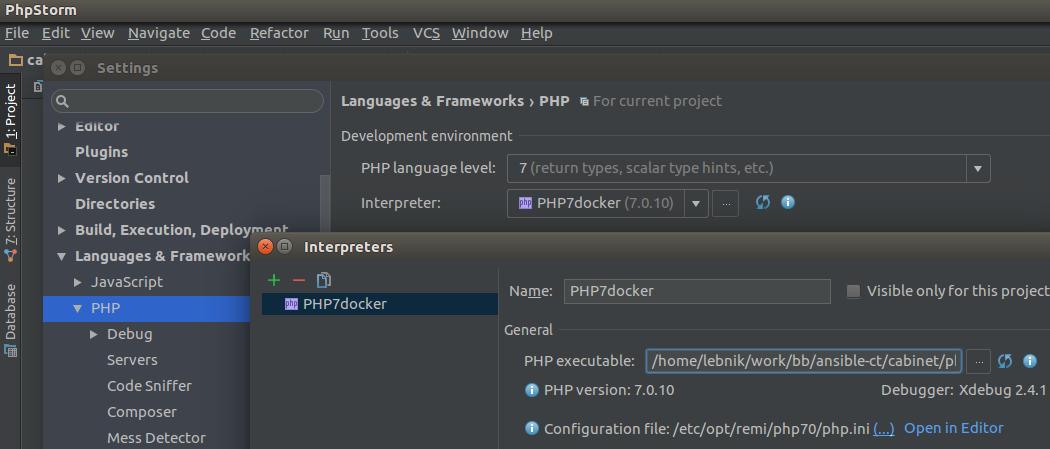 Phpstorm + Docker + PHP + PhpUnit